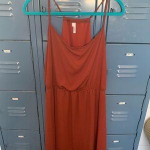 Summer/Fall Halter Hi-Low Rust Dress